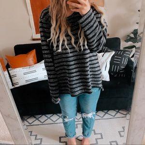 Oversized chunky striped sweatshirt